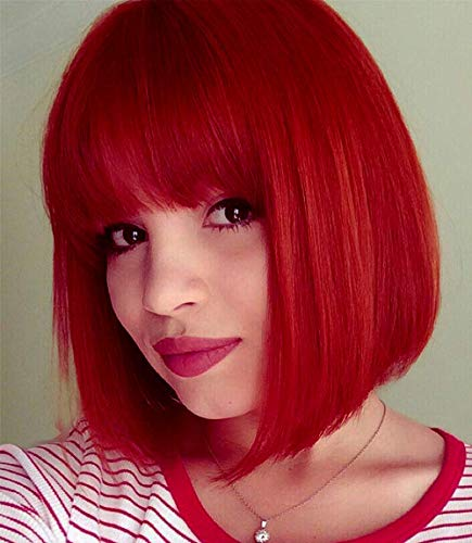 Perücke Rot Bob Kurze Glatt Damen Perücken Haar mit Flach Pony Synthetik Cosplay Party Halloween für Frauen Wig VD052B