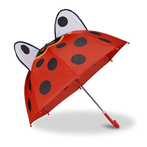 Relaxdays 10022286_766 Kinderregenschirm mit 3D Marienkäfer, Regenschirm für Mädchen und Jungen, Stockschirm mit Punkten, rot
