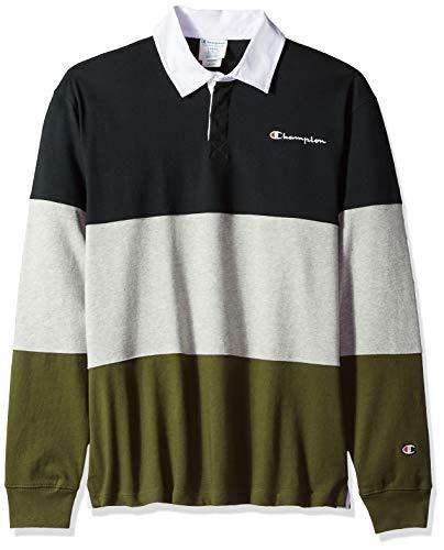 Champion LIFE Men's Colorblock Rugby Shirt, Black/Oxford Grey/Hiker Green, Medium