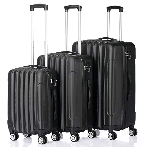 Lightweight 4 Wheel Hard Shell Travel Trolley 3 Piece Luggage Suitcase