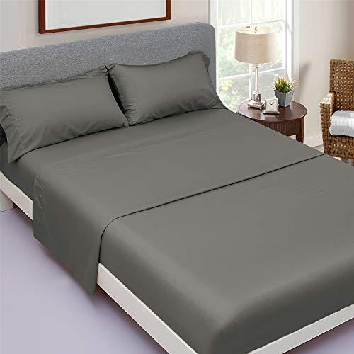 JSD King Bamboo Sheet Set 16' Deep Pocket, Gray 4 Piece Bedding Sheets Pillowcases, Cool Breathable Soft