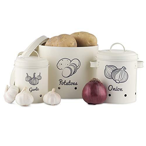 Navaris 3X Recipiente para almacenaje de ajo Cebolla y Patata - Botes ventilados de Metal para Patatas ajos cebollas - Contenedores Vintage con Tapa