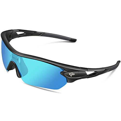 TOREGE Polarized Sports Sunglasses with 5 Interchangeable Lenes for Men Women Cycling Running Driving Fishing Golf Baseball Glasses TR002 (Black&Ice Blue Lens)