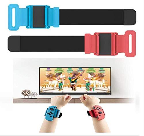 ANTCOOL Armbänder Armband Kompatibel mit Nintendo Switch Just Dance 2020 2019 Burn It Up, 2er Pack Armband verstellbar elastisch Beinbefestigung Abenteuer Fitness verstellbar elastisch - Rot & Blau