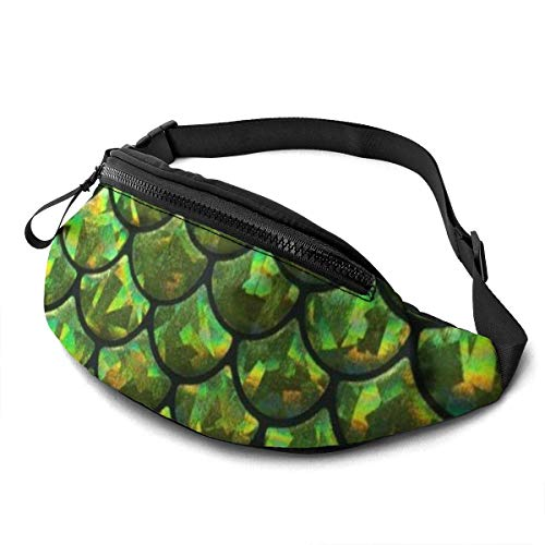 Corner Time Small Artificial Flowers Unisex Casual Waist Bag Mermaid Fish Scale Stretch to Green Leaf Fanny Pack Money Bum Bag with Adjustable Belt for Running Sports Climbing Travel