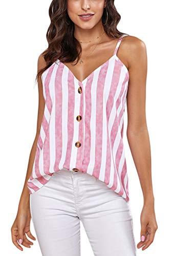 Ancapelion Damen Sommer Bluse Ärmellose Chiffon Tank Top V-Ausschnitt Shirt Elegant Weste Hemdbluse Loose fit T Shirt