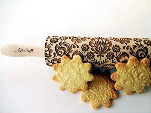 Nudelholz FOLK für Hausgemachtes Gebäck. Gravierte Teigrolle mit Folksy Blume von Algis Crafts