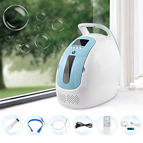 HUKOER Concentrador de oxígeno portátil 1-5L / min Concentrador de oxígeno Ajustable para el hogar 90% ± 3% Alta pureza, para automóvil doméstico (220 V) (no Alimentado por batería)