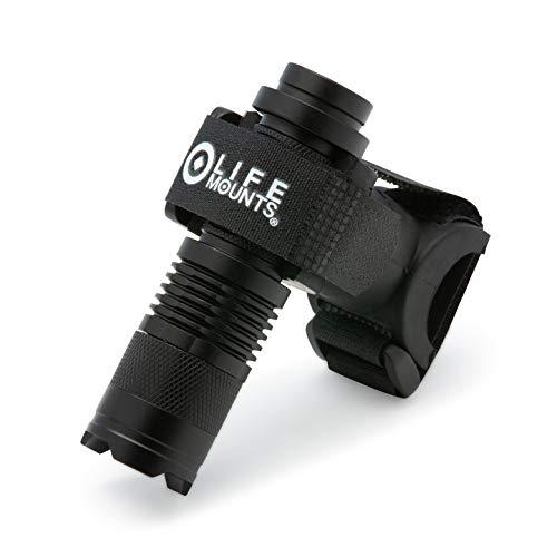 Life Mounts LED-Taschenlampe für Rollstuhl/Gehhilfe/Rollator, mit patentierter Universal-Flex-Halterung, Freisprecheinrichtung und Sicherheitsbeleuchtung, Schwarz