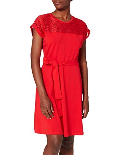 Only Damen ONLBILLA S/L LACE DRESS JRS Kleid, High Risk Red , M