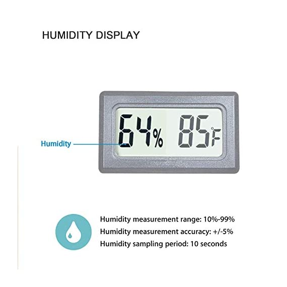 Veanic 4-pack mini digital thermometer hygrometer meters gauge indoor large number display temperature fahrenheit… 6 mini digital humidity thermometer allows you to easily know the environment temperature and humidity around you 2in1 meter with built-in probe; digital electronic thermometer and hygrometer for measuring temperature and humidity for indoor use fahrenheit (℉) display, this thermometer displays temperature in fahrenheit