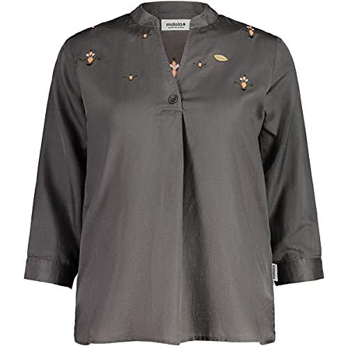 Maloja W Alpenglöckchenm. Bluse Grau, Damen Kurzarm-Hemd, Größe M - Farbe Stone