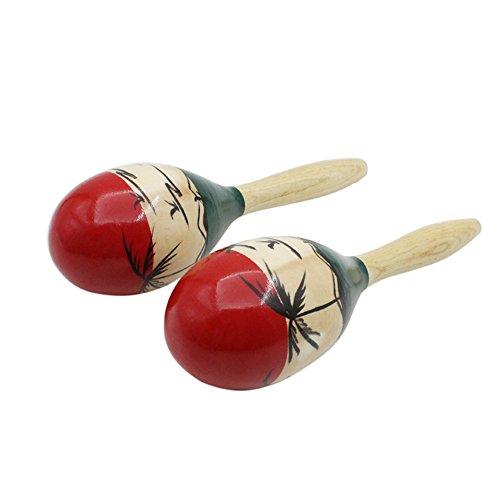 Ammoon Maracas Rumba Shaker, 1 Paar Holzschellen mit Schlaghammer, Musikinstrument für Kinder