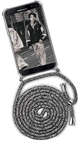 ONEFLOW Handykette kompatibel mit Samsung Galaxy S7 Edge - Handyhülle mit Band zum Umhängen Hülle Abnehmbar Smartphone Necklace - Hülle mit Kette, Schwarz Grau Weiß