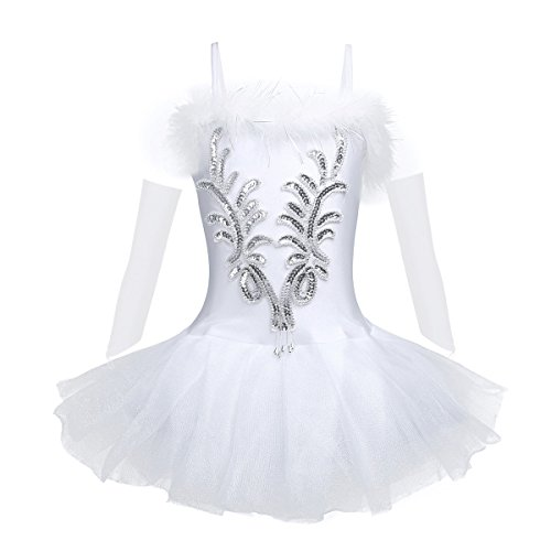FEESHOW Girls Sparkle Beaded Ballet Dress Swan Dance Outfit Costumes Tutu Skirt with Long Gloves and Hair Clip White 10-12