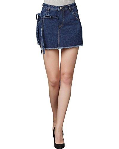 Damen Kurz Röcke Große Größe Irregulär Rockhose Beiläufig Einfarbig Jeansrock Dunkelblau 4XL