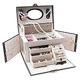 XPHZHQ-box Caja Gran Caja De JoyeríA Cuero De PU con Espejo De Maquillaje Pulsera De Moda De MúLtiples Funciones Caja De Almacenamiento El Tocador Femenino Es Un Buen Ayudante +