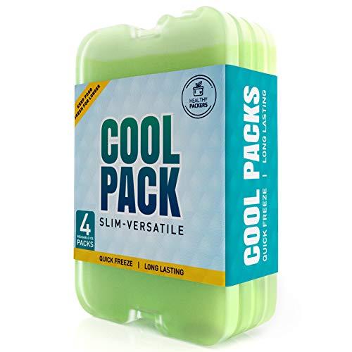 Healthy Packers Paquete de Hielo para lonchera – Paquetes de congelador – Original Cool Pack   Slim & Larga duración Paquetes de Hielo para su Almuerzo o Bolsa de Enfriador (4)