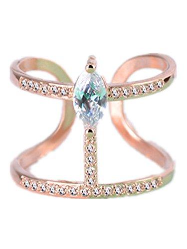 Boowohl Damen-Ring Freundschaftsringe Partnerringe Hochzeitringe Ehering 925 Sterling Silber Diamant Hypoallergen Ringe Doppel-Ring Fingerring Eröffnungringe aus 925 Sterling Silber (Rosegold)
