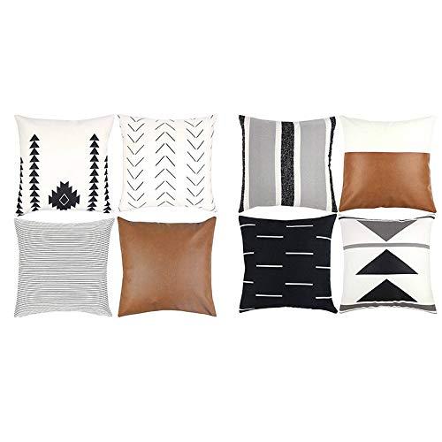 Basage - Juego de fundas de almohada decorativas para sofá, sofá o cama, diseño moderno, 4 rayas y 4 piezas de color negro y blanco
