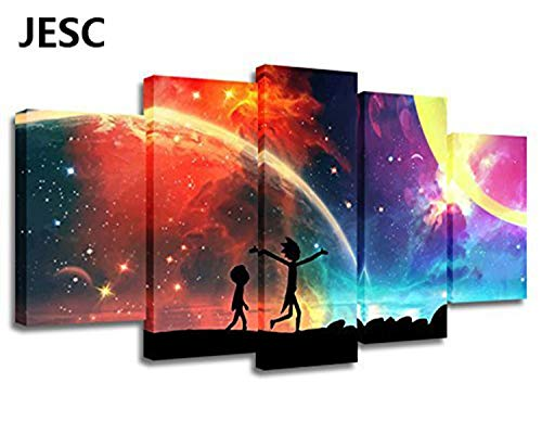 JESC 5 Panels Canvas Rainbow Painting Poster Wall Art Canvas Art Modern Home Decor Picture for Living Room No Frame Only Canvas(30x50cmx2,30x70cmx2,30x80cmx1)
