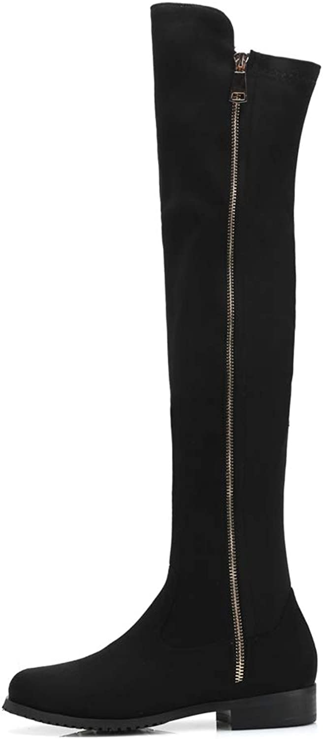 Kyle Walsh Pa Women Knee High Boots Soft Suede Zipper Female Casual Botas Ladies Comfortable Flats shoes