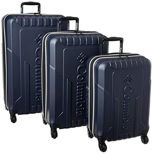 Columbia 3 Piece Hardside Spinner Luggage Set, Navy/Grey, One Size