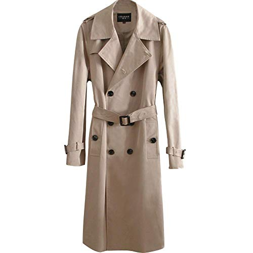 ANGELCITY ロング コート メンズ スーツ アウター トレンチコート 無地 ラグランス リーブ ベルト付き ダブルブレスト ビジネス カジュアル トレンチ コート シンプル 上着 開襟 イングランド風 大きいサイズ 男性用 A272 (M, ベージュ)
