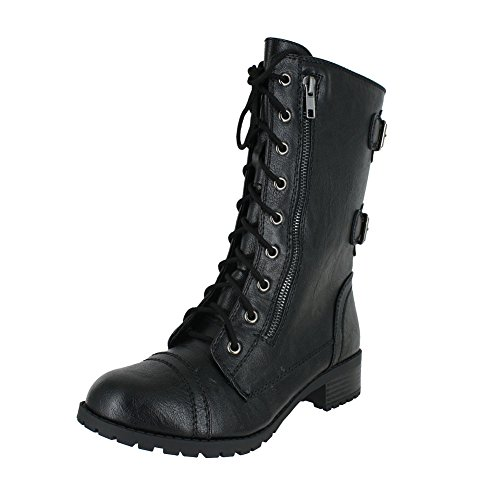 Soda Dome Mid Calf Height Women's Military/Combat Boots, Black, 5.5