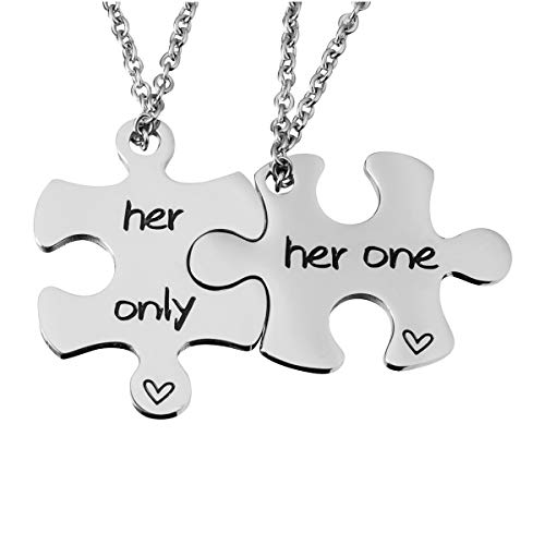 omodofo Jigsaw Puzzle Piece Keychains Set of 2 Gay Boyfriend Couples Jewelry LGBT Lesbian Girlfriend Anniversary Valentines Day Wedding Gifts (Her One & Her Only (Necklace))