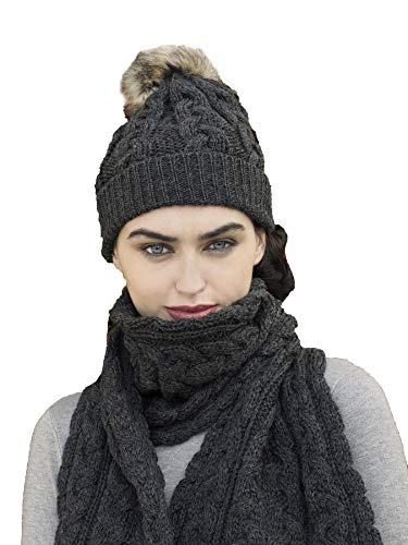 Aran Crafts Women's Irish Cable Knitted Wool Soft Pom Faux Fur Hat (X4844-CHAR) Charcoal