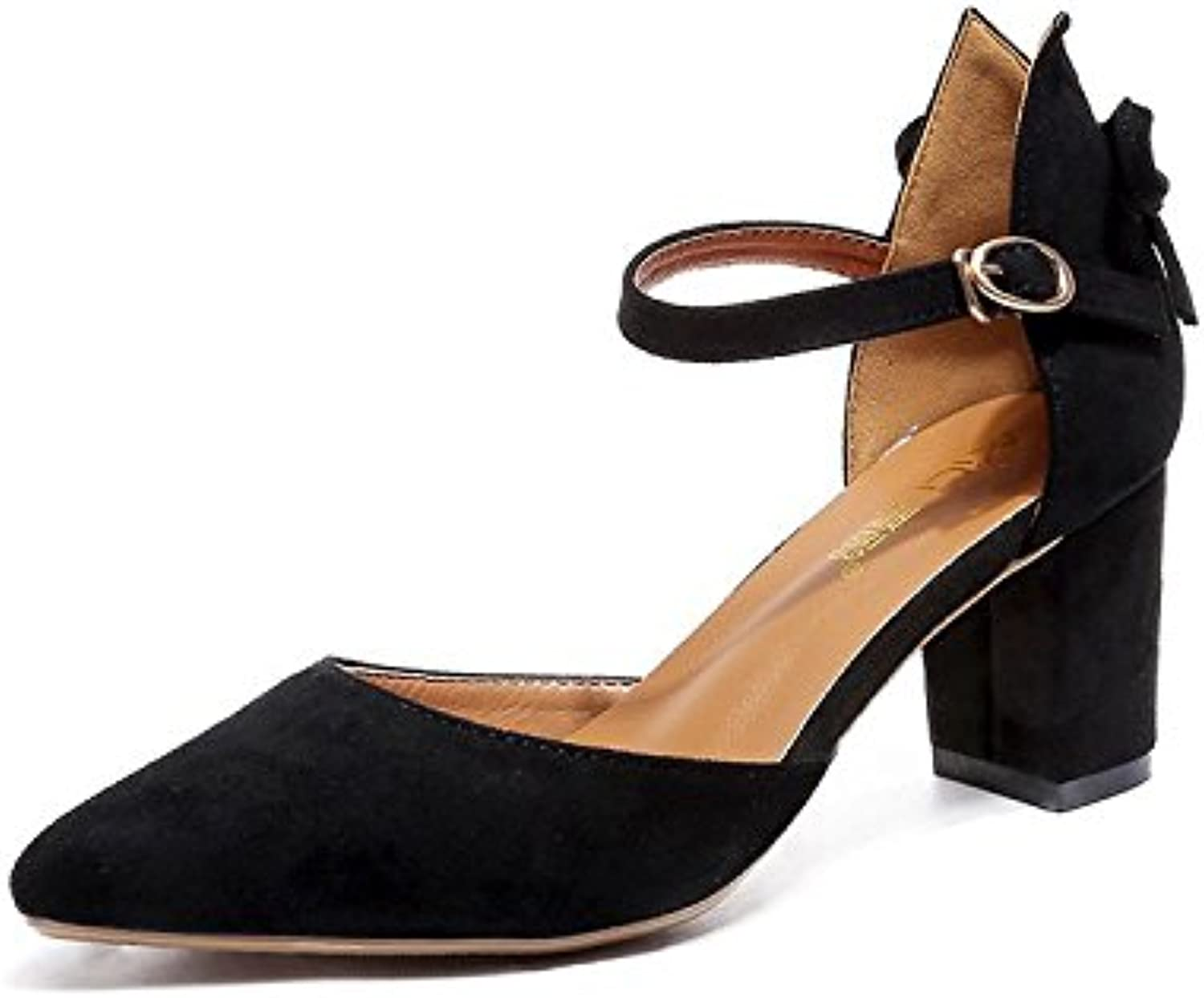 LHJY The New Women's shoes are All Round Buckled Pointed Female Thick and Shallow Buckled High Heels