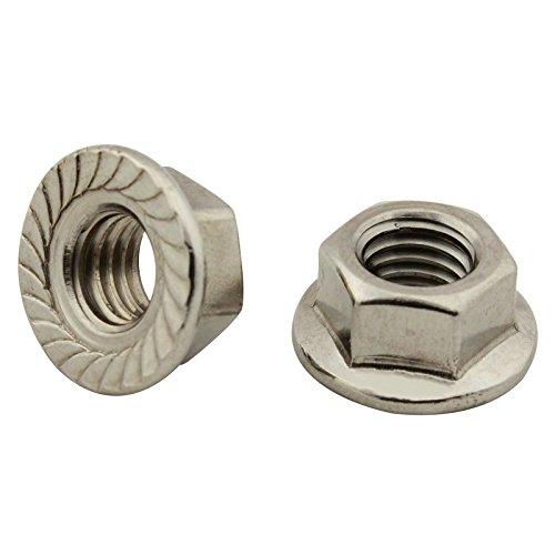 Sechskantmuttern mit Flansch und Sperrverzahnung - M4 - (10 Stück) - Flanschmuttern - DIN 6923 - Edelstahl A2 (V2A) - SC6923 | SC-Normteile