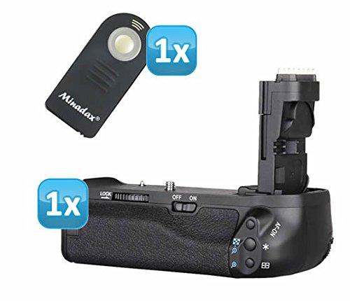 Profi Batteriegriff kompatibel mit Canon EOS 70D Ersatz für BG-E14 - für 2x LP-E6 und 6 AA Batterien + 1x Infrarot Fernbedienung