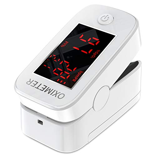 Pulsoximeter, Fingeroximeter, Fingerpulsoximeter mit LED-Anzeige, Herzfrequenzmesser für Heim und Sport, Sauerstoffsättigungsmonitor für Erwachsene und Kinder