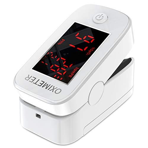 Oxímetro de pulso de dedo con pantalla LED, monitor de frecuencia cardíaca para el hogar y los deportes,monitor de saturación de oxígeno para adultos y niños (Blanco) ⭐