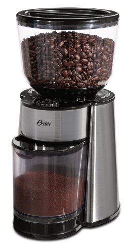 Oster BVSTBMH23-033 Coffee Burr Mill Grinder with Hopper, Stainless Steel/Black