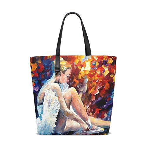 LUNLUMO Borsa a tracolla variopinta del ballerino della pittura delle donne di modo delle borse di cuoio del totalizzatore