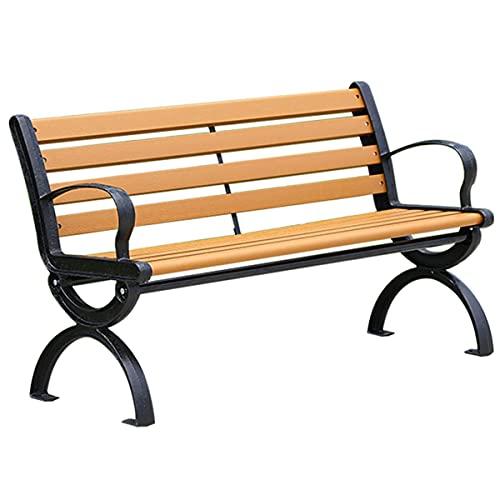 STEPPE Outdoor Garden Bench con Respaldo Curvo Y Apoyabrazos, Hierro Fundido Resistente De Metal Banco Madera Exterior, Banco Exterior