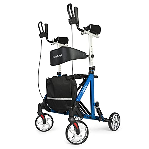 GreenChief Rollator Walker with Armrests, Tall Walker with Shock Absorber for Seniors and Adults Folding Rollator with Seat Rolling with Carrying Pouch, Suitable for Indoor Outdoor, Blue