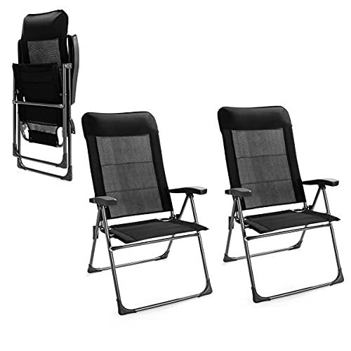 RELAX4LIFE 2er Klappstuhl Eisen, ergonomischer Gartenstuhl mit Verstellbarer Rückenlehne, klappbarer Balkonstuhl mit Kopfstütze, für Garten & Balkon & Terrasse & Pool, bis 150 kg belastbar, schwarz