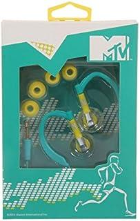 MTV 1778 hoofdtelefoon, oorbeugel - kabel gebonden - stabiele grip - sporthoofdtelefoon, 15 x 10 x 10 cm, turquoise/geel
