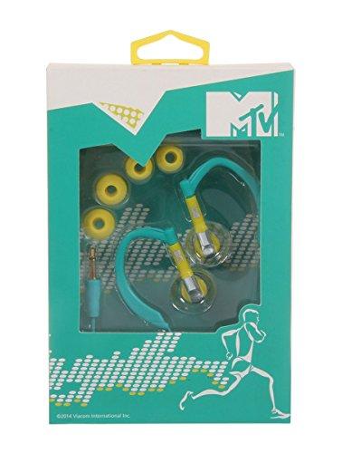 MTV 1778 Kopfhörer, Ohrbügel - Kabelgebunden - Stabiler Halt - Sportkopfhörer ,15 x 10 x 10 cm, Türkis / Gelb