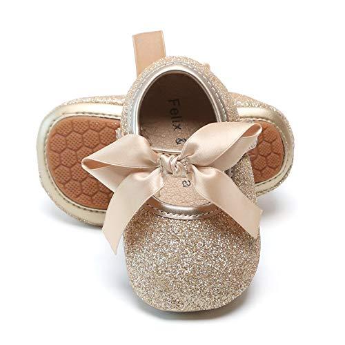 Felix & Flora Infant Baby Girls Shoes Soft Rubber Sole Princess Dress Shoes Baby Walking Shoes(Infant/Toddler)(9-12 Months Infant,Glitter Gold)