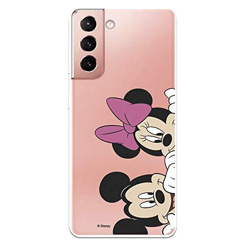 Funda para Samsung Galaxy S21 Oficial de Clásicos Disney Mickey y Minnie Asomados. Protege tu móvil con la Carcasa para Samsung de Silicona Oficial de Disney.