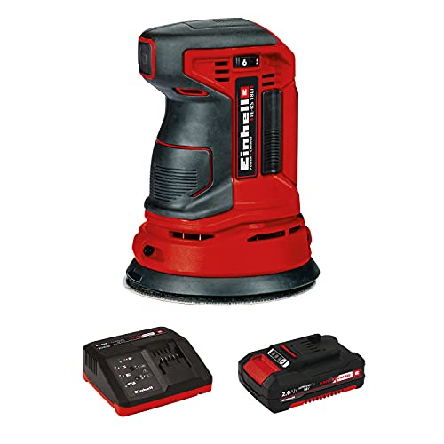 Einhell TE-RS Power X-Change 18-Volt Cordless 5-Inch 22,000-OPM Max Variable Speed Random Orbital Palm Sander w/Dust Collection Box, Dust Extraction Adapter, Electronic Speed Control,