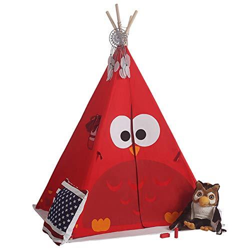 DASGF Kinderspielzelt,Klappspielzeug Haus Für Drinnen Und Draußen, Jungen Oder Mädchen, Indisches Zelt Der Eule, 120 * 120 * 140Cm