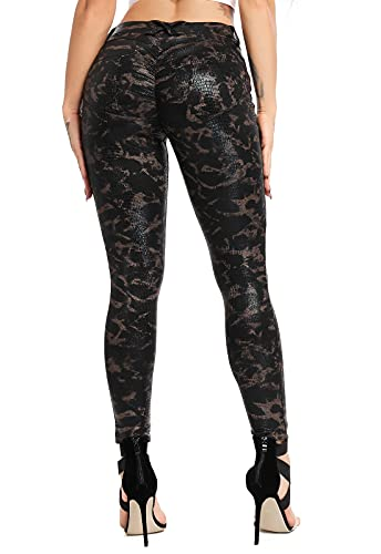 FITTOO PU Leggings Cuero Imitación Pantalón Elásticos Cintura Alta Push Up para Mujer