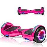 DOC Electric Smart Self-Balancing Hoverboard with Built in Speaker LED Lights Wheels Certified Hoverboard for Kids and Adults (Chrome Pink)