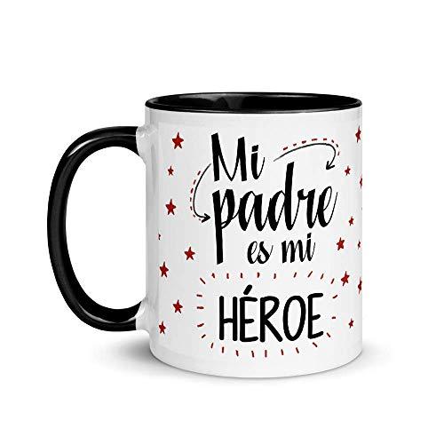 Kembilove Taza de Café Mi Papá es mi Héroe – Taza de Desayuno para Regalar el día del Padre – Tazas de Café y Té para Papá – Taza de Cerámica de 350 ml para Regalar el día Padre